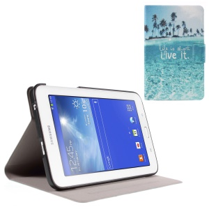 Stand Leather Shell for Samsung Galaxy Tab 3 Lite 7.0 T110 T111 with Perfume Smell - Life Is Short Live It