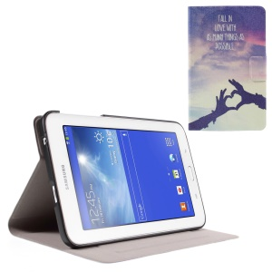 Leather Case for Samsung Galaxy Tab 3 Lite 7.0 T110 T111 with Perfume Smell - Love Gesture and Quote