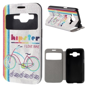 Window View Leather Cover for Samsung Galaxy Core Prime SM-G360 with Perfume Smell - Colorful Bicycle