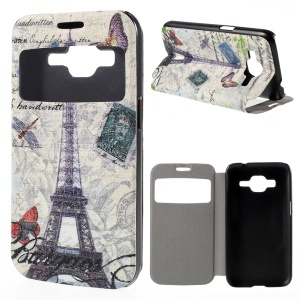 Window View Leather Stand Cover for Samsung Galaxy Core Prime SM-G360 with Perfume Smell - Eiffel Tower