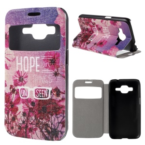 Window View Leather Stand Case for Samsung Galaxy Core Prime SM-G360 with Perfume Smell - Flowers and Quote