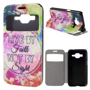 Window View Leather Case Cover for Samsung Galaxy Core Prime SM-G360 with Perfume Smell - Quote Live by Faith not by Sight