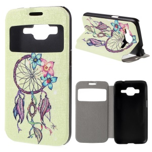 Window View Leather Cover Case for Samsung Galaxy Core Prime SM-G360 with Perfume Smell - Dream Catcher