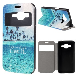 Window View PU Leather Case for Samsung Galaxy Core Prime SM-G360 with Perfume Smell - Seawater and Quote