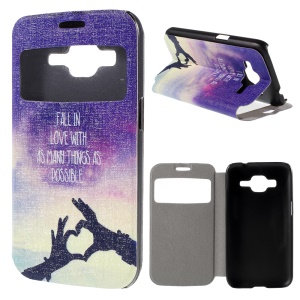 Window View PU Leather Cover for Samsung Galaxy Core Prime SM-G360 with Perfume Smell - English Characters