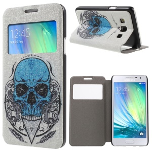 Window View Leather Case with Fragrance for Samsung Galaxy A3 SM-A300F - Skull King