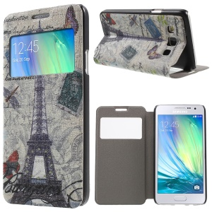 Stand View Leather Case with Fragrance for Samsung Galaxy A3 SM-A300F - Eiffel Tower and Butterflies