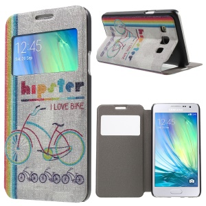 Stand View Leather Cover with Fragrance for Samsung Galaxy A3 SM-A300F - Hipster I Love Bike