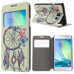 Window Leather Case with Fragrance for Samsung Galaxy A3 SM-A300F - Flower Feather Wind-bell