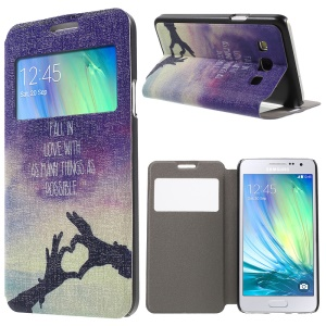 Window Leather Cover for Samsung Galaxy A3 SM-A300F - Fall In Love With as Many Things as Possible