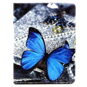 Flip Wallet Stand Leather Case for iPad 2 3 4 - Blue Butterfly