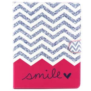 Flip Wallet Stand Leather Shell for iPad 2 3 4 - Chevron Stripes and Smile