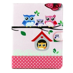 Patterned Flip Wallet Stand PU Leather Cover for iPad 2 3 4 - Sweet Owl Family