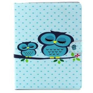 Magnetic Wallet Stand Leather Protective Case for iPad 2 3 4 - Napping Owls on the Branch