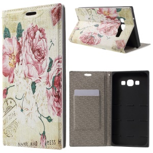 PU Leather Stand Case for Samsung Galaxy A8 SM-A800F - Rose Flowers