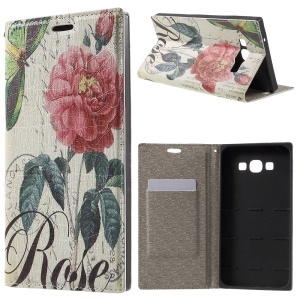 PU Leather Stand Cover for Samsung Galaxy A8 SM-A800F - Blooming Flower