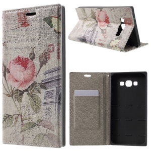 PU Leather Stand Shell for Samsung Galaxy A8 SM-A800F - Building and Flower