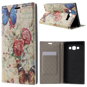 PU Leather Stand Cover for Samsung Galaxy A8 SM-A800F - Butterfly and Flower