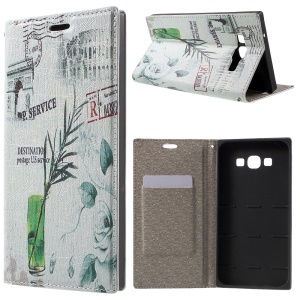 PU Leather Stand Shell for Samsung Galaxy A8 SM-A800F - Plant in the Bottle