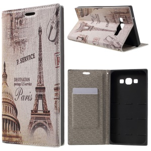 PU Leather Stand Cover for Samsung Galaxy A8 SM-A800F - Eiffel Tower