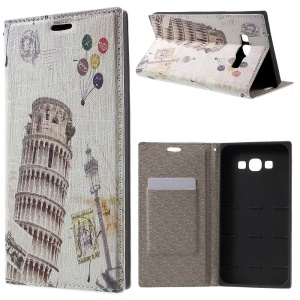 PU Leather Stand Cover for Samsung Galaxy A8 SM-A800F - Leaning Tower