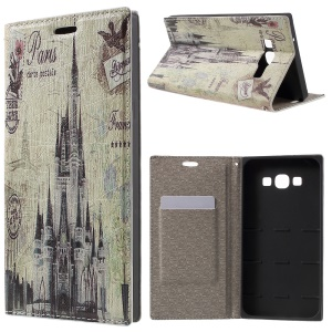 PU Leather Stand Cover for Samsung Galaxy A8 SM-A800F - Castle