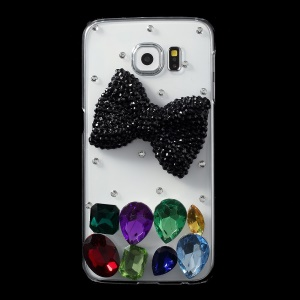 Black Bowknot Crystals Coated PC Case for Samsung Galaxy S6 G920
