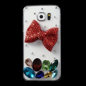 Red Bowknot Crystals Coated PC Case for Samsung Galaxy S6 G920