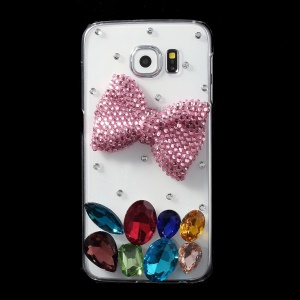 Pink Bowknot Crystals Coated PC Case for Samsung Galaxy S6 G920