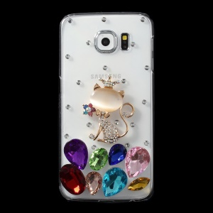 Crowned Cat Crystals Coated PC Case for Samsung Galaxy S6 G920