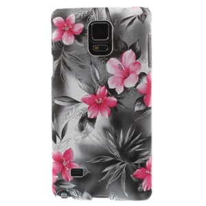 Beautiful Flower Blooming Leather Coated Hard Case for Samsung Galaxy Note 4 N910 - Grey