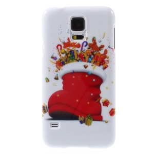 Christmas Boot & Gifts Pattern Glossy Hard Plastic Case for Samsung Galaxy S5 G900 i9600