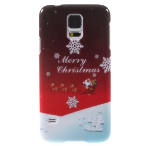 Christmas Greeting & Snowflakes Pattern Plastic Case for Samsung Galaxy S5 G900 i9600