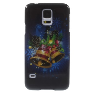 Glossy Plastic Shell for Samsung Galaxy S5 G900 i9600 - Christmas Bells & Pine Cones