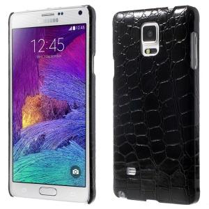 Crocodile PU Leather Skin Plastic Hard Case for Samsung Galaxy Note 4 N910 - Black