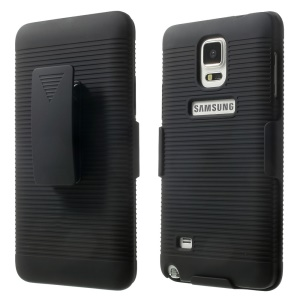 Horizontal Stripes Belt Clip Holster Hard Case with Kickstand for Samsung Galaxy Note 4 N910