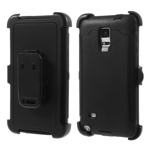 Tough Hybrid PC + TPU Protection Case w/ Belt Clip Holster for Samsung Galaxy Note 4 N910 - Black