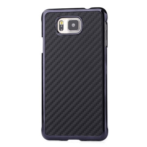 Carbon Fiber Leather Coated Plastic Case for Samsung Galaxy Alpha G850F G850A - Black