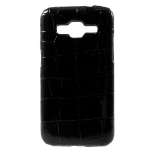 Black for Samsung Galaxy Core Prime SM-G360 Crocodile PU Leather Skin Hard PC Case