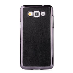 Crazy Horse Leather Coated Plastic Case for Samsung Galaxy Grand 3 G7200 - Black