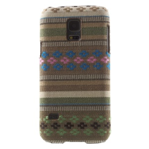 Leather Coated PC Case for Samsung Galaxy S5 Mini G800 - Little Flower & Stripe