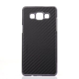 Carbon Fiber Vein Leather PC Plating Cover for Samsung Galaxy A7 SM-A700F - Black