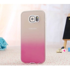ENKAY Rainbow Gradient Color TPU PC Case for Samsung Galaxy S6 G920 - Translucent / Rose