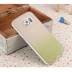 ENKAY Rainbow Gradient Color TPU PC Cover for Samsung Galaxy S6 G920 - Translucent / Green
