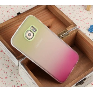 ENKAY Rainbow Gradient Color PC Frame TPU Cover for Samsung Galaxy S6 G920 - Green / Rose