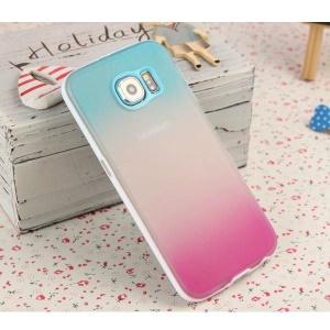 ENKAY Rainbow Gradient Color PC Bumper TPU Case for Samsung Galaxy S6 G920 - Blue / Rose
