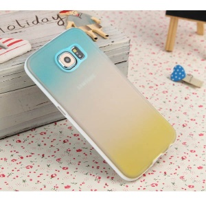 ENKAY Rainbow Gradient Color TPU PC Hybrid Case for Samsung Galaxy S6 G920 - Blue / Yellow