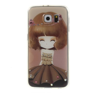 Embossed Diamonds PC + TPU Cover for Samsung Galaxy S6 G920 - Smiling Girl in Coffee Dress
