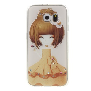 Embossed Plastic + TPU Cover for Samsung Galaxy S6 G920 - Smiling Girl with Daisy Hair Flower