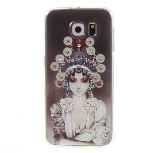 Embossed Rhinestone PC + TPU Back Case for Samsung Galaxy S6 G920 - Peking Opera Cos Girl